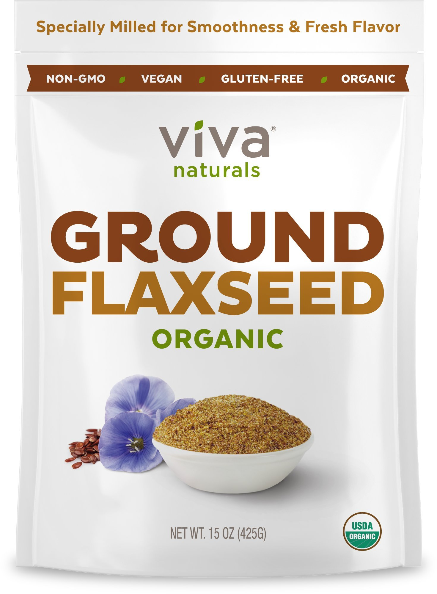 Viva Naturals Organic Ground Flax Seed, 15 oz - Specially Cold-milled Using Proprietary Technology for Optimal Smoothness and Freshness