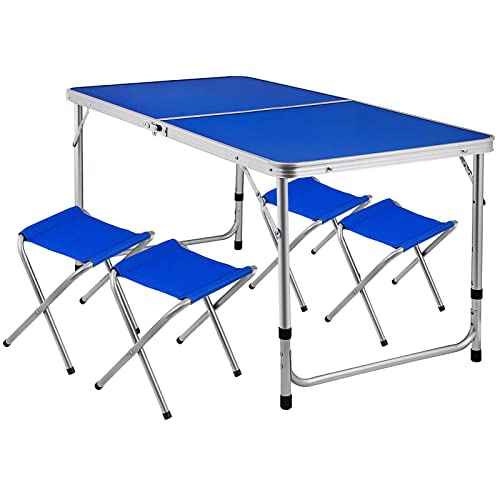 Happybuy Folding Picnic Table with 4 Benches 4 Person Adjustable Height Portable Camping Table and Chairs Set for Office Garden Outdoor