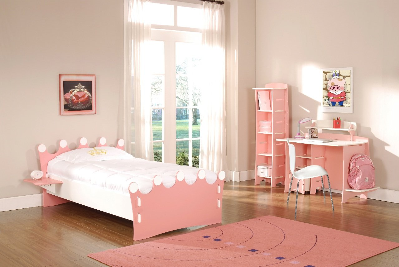 Amazon.com: Legaré Kids Furniture Princess Series Collection, No Tools  Assembly Twin Bed, Pink And White: Kitchen U0026 Dining