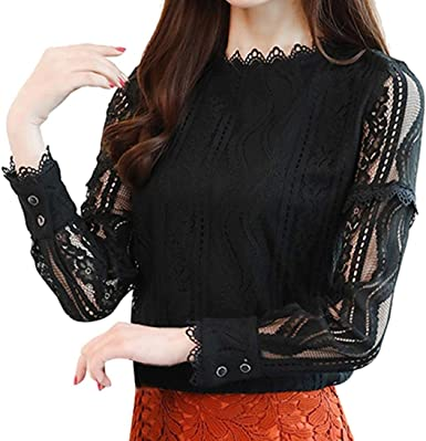 Womens Career Office Lace Striped Floral Long Sleeve Slim Work Shirt Slim Blouse