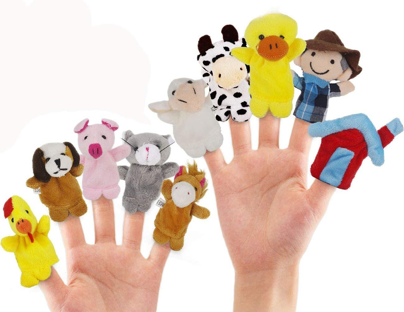 JZH Pack of 10 Different Cartoon Animal Soft Plush Hand Puppets Finger Puppets Soft Plus, Baby Soft Velvet Dolls Props Toys Storytelling Toys. (Farm Animals)