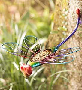 Wind and Weather Metal Dragonfly Bird Feeder