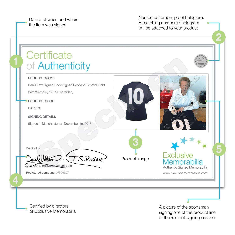 Camiseta de fútbol de Escocia, firmada por Denis Law: Amazon.es: Deportes y aire libre