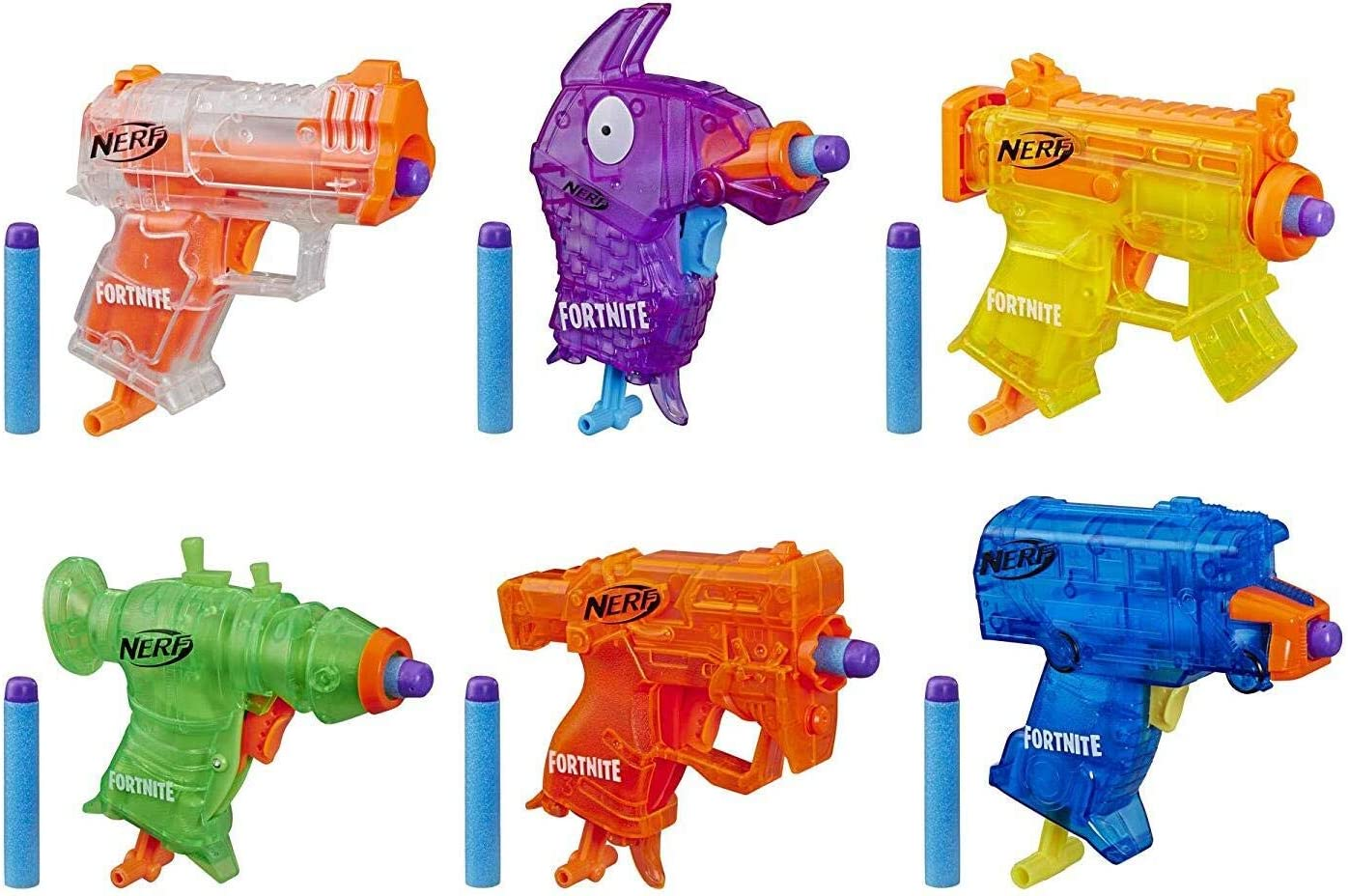 NERF Fortnite Micro Ice Storm Collection -- Includes 6 Microshots Blasters & 12 Official Elite Darts -- for Youth, Teens, Adults