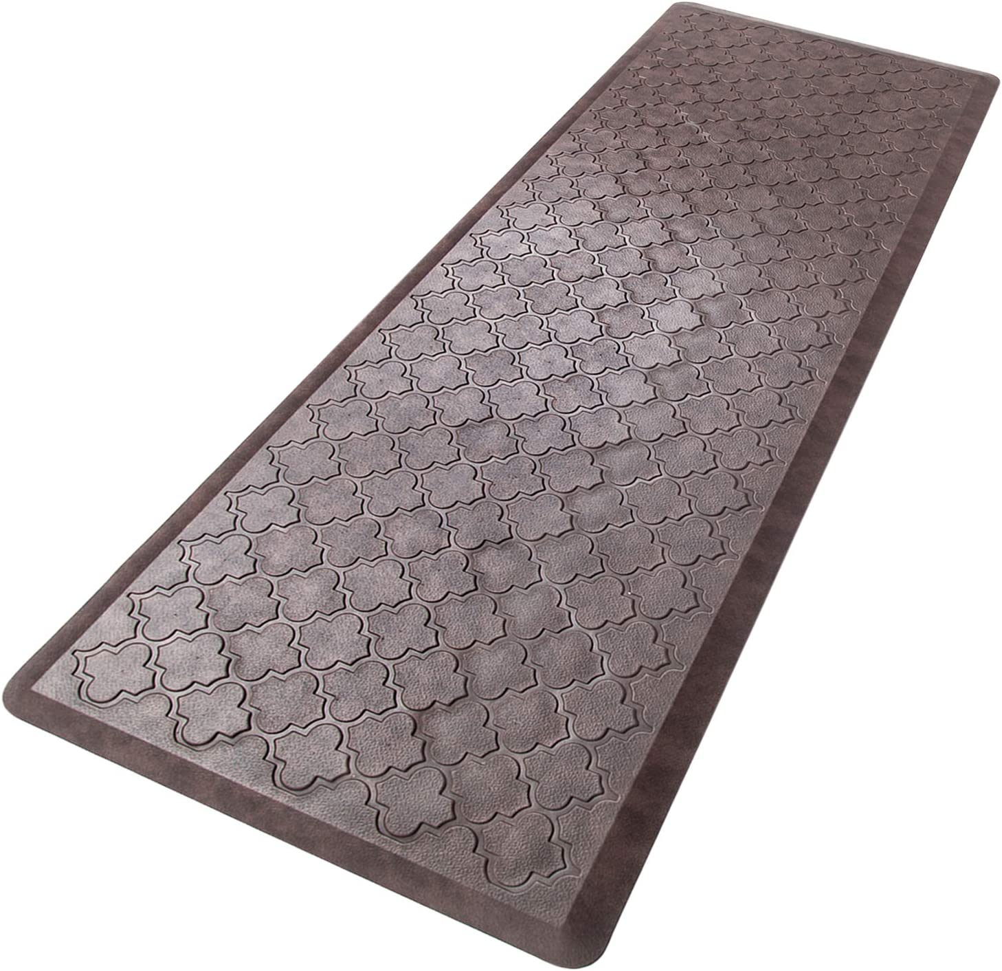 "HEBE Oversized Anti Fatigue Comfort Mats for Kitchen Floor Standing Desk Non Slip Thick Cushioned Kitchen Floor Mats Runner Waterproof Kitchen Rugs Heavy Duty Comfort Standing Mats,20""x60"",Brown: Kitchen & Dining"