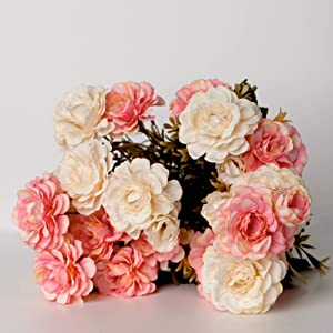 Artificial Silk Flowers,-No Vase- Pink and White -Peony, Camellia, Hydrangea- Bouquet, Home Décor Floral Arrangement Wedding Decoration Table Centerpiece (21 Flower heads-21 Buds)