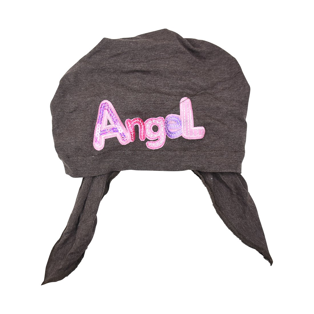 Pink Angel Applique on Child's Pretied Head Scarf Cancer Cap ldptk-black-a42