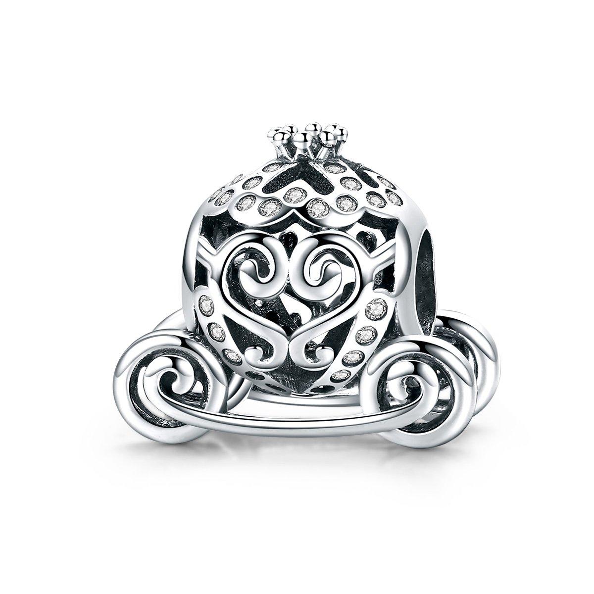 WOSTU Silver Charms 925 Sterling Silver Royal Princess Pumpkin Carriage Charms for Charm Bracelets