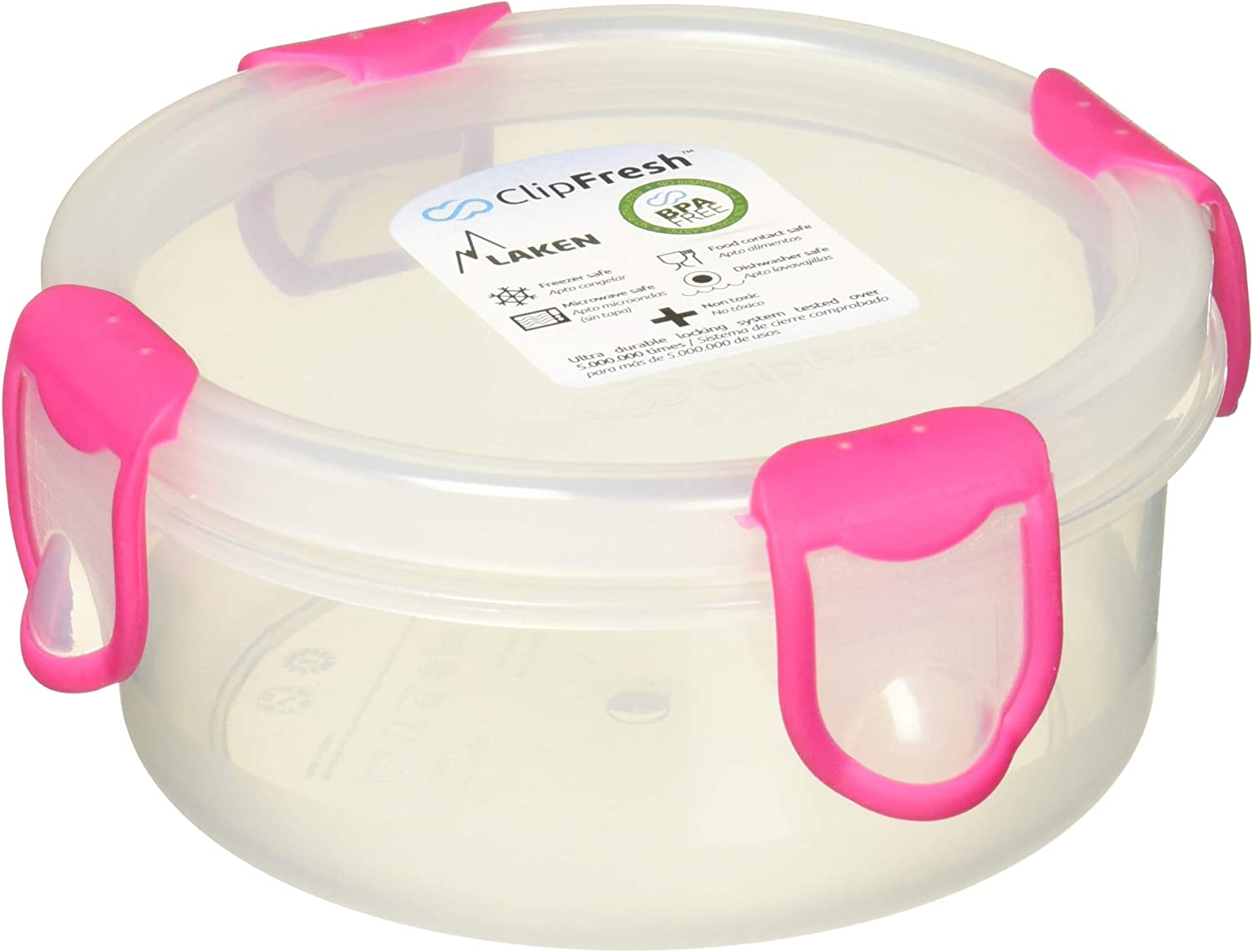 Laken Clip Fresh Food Storage Container Lunchbox 0.35L 1.5 Cups Round Pink