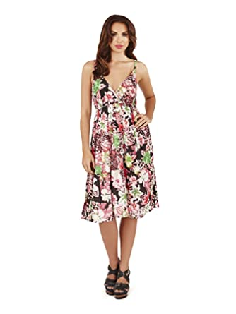 8ae89cee5 Pistachio, Ladies Cross Front Floral Summer Holiday Dress, Pink, One Size:  Amazon.co.uk: Clothing