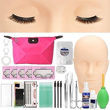 2aac3ae4ef6 LuckyFine Pro 19pcs False Eyelashes Extension Practice Exercise Set  Professional Head Model Lip Makeup Eyelash Grafting Training Tool Kit for  Makeup ...