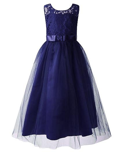 c163e9437 Kidsform Girls Lace Dress Chiffon Gown Wedding Bridesmaid Party Kids ...