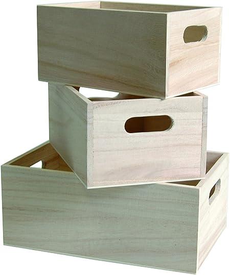 Artemio - Juego de 3 Cajas para Almacenamiento, Color Beige: Amazon.es: Hogar