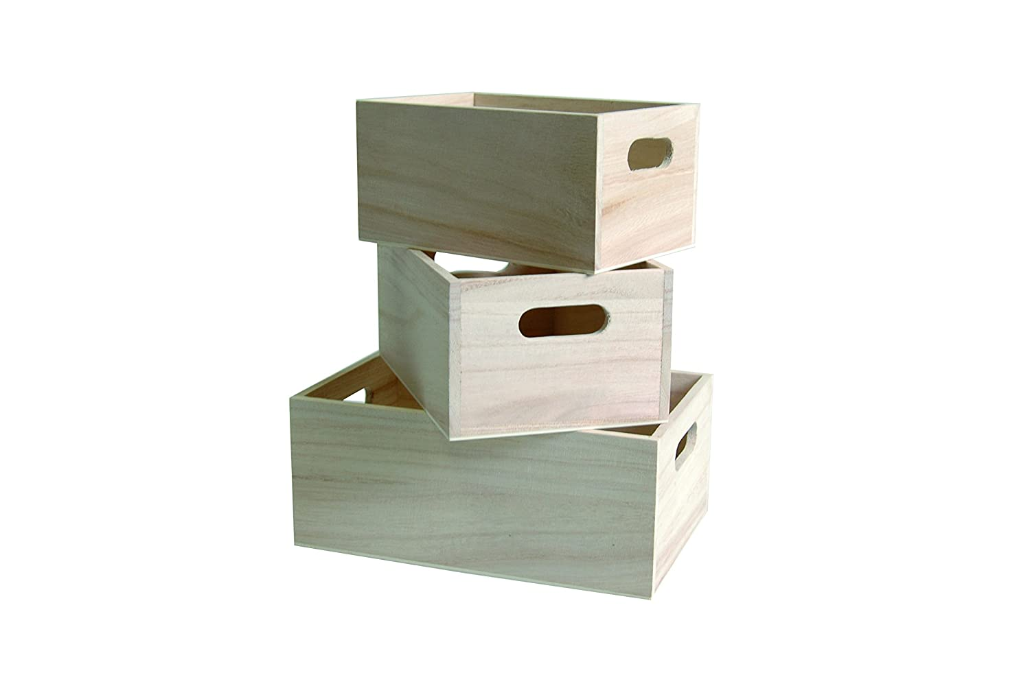 Artemio 3 Wooden Nested Boxes, Beige 14001473