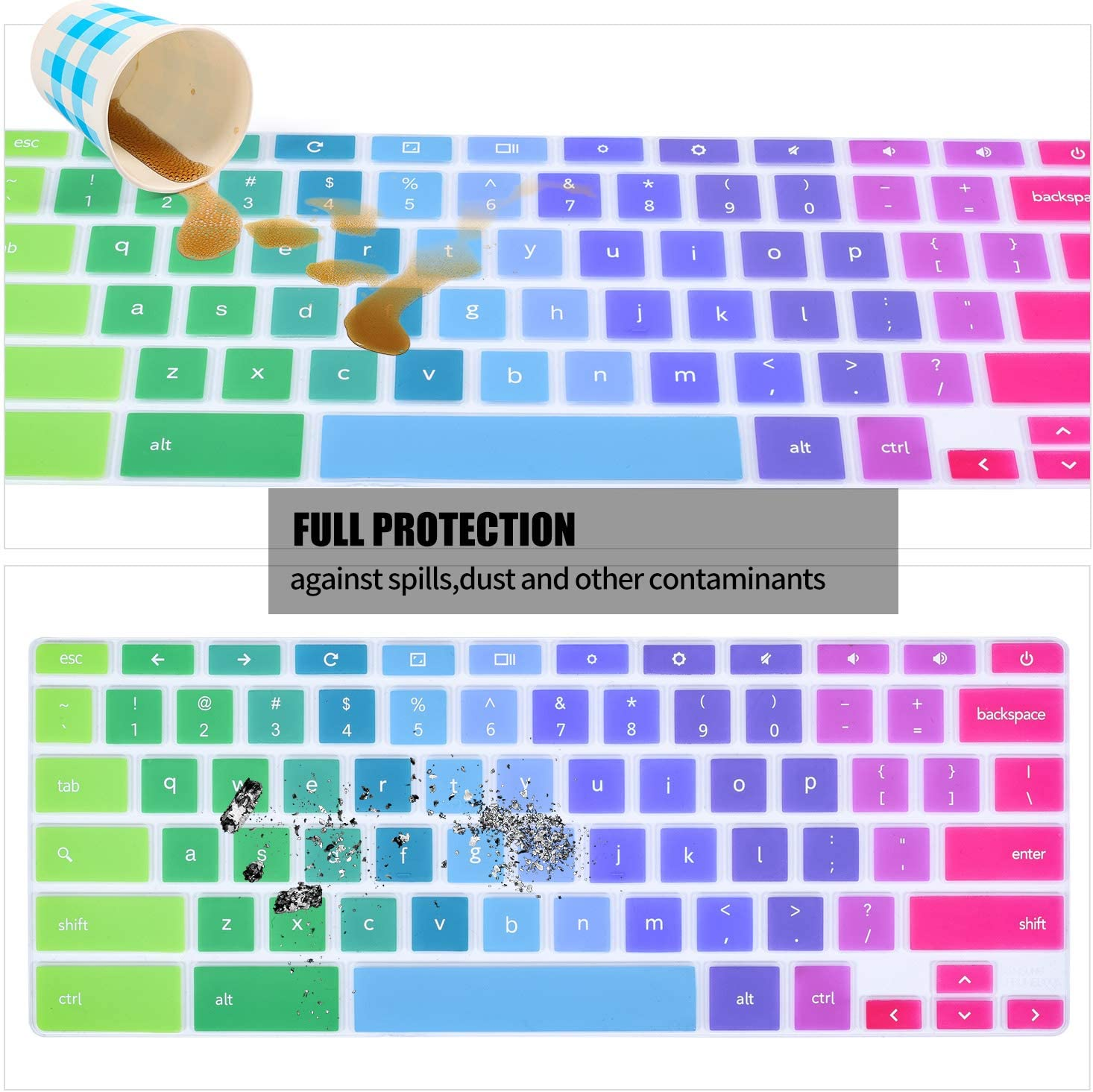 Rainbow Samsung Chromebook Plus XE520QAB 12.2 inch iKammo Keyboard Protective Skin Cover Compatible 2019 2018 Samsung Chromebook Pro 12.2