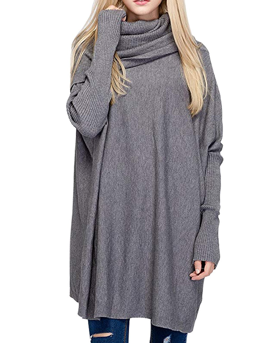 BOBIBI Women Oversized Cowl Neck Sweaters Long Sleeve Loose Fit Knitted Pullover,Gray
