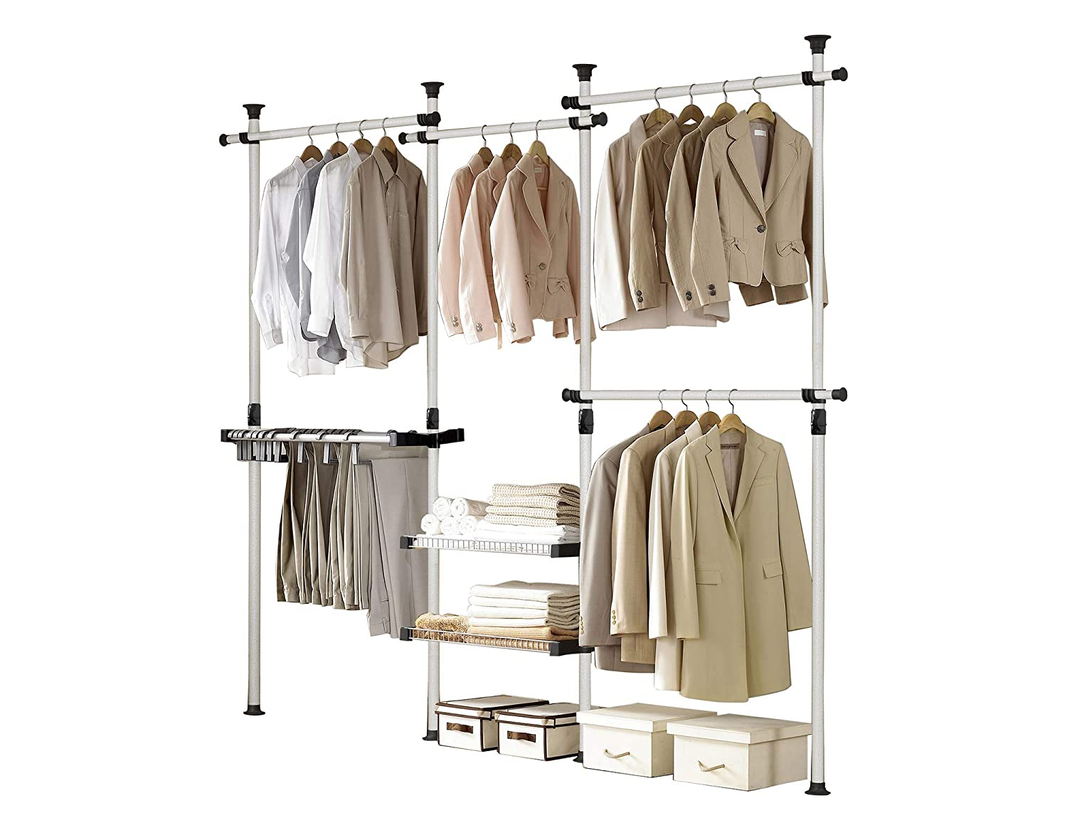 PRINCE HANGER, Deluxe Pants & Shelf Hanger, Holds 60kg(132LB) per horizontal bar, Heavy Duty, 32mm Vertical pole, Clothing Rack, Clothes Organizer, Pants Hanger, PHUS-0052