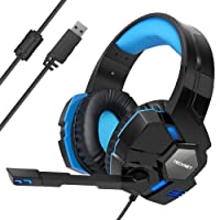 Gaming Headset,TeckNet USB 7.1 Channel Surround Sound Over-Ear Gaming Headphones Headband With Blue LED Lighting, Noise Cancelling Microphone & Volume Control For PC Computer