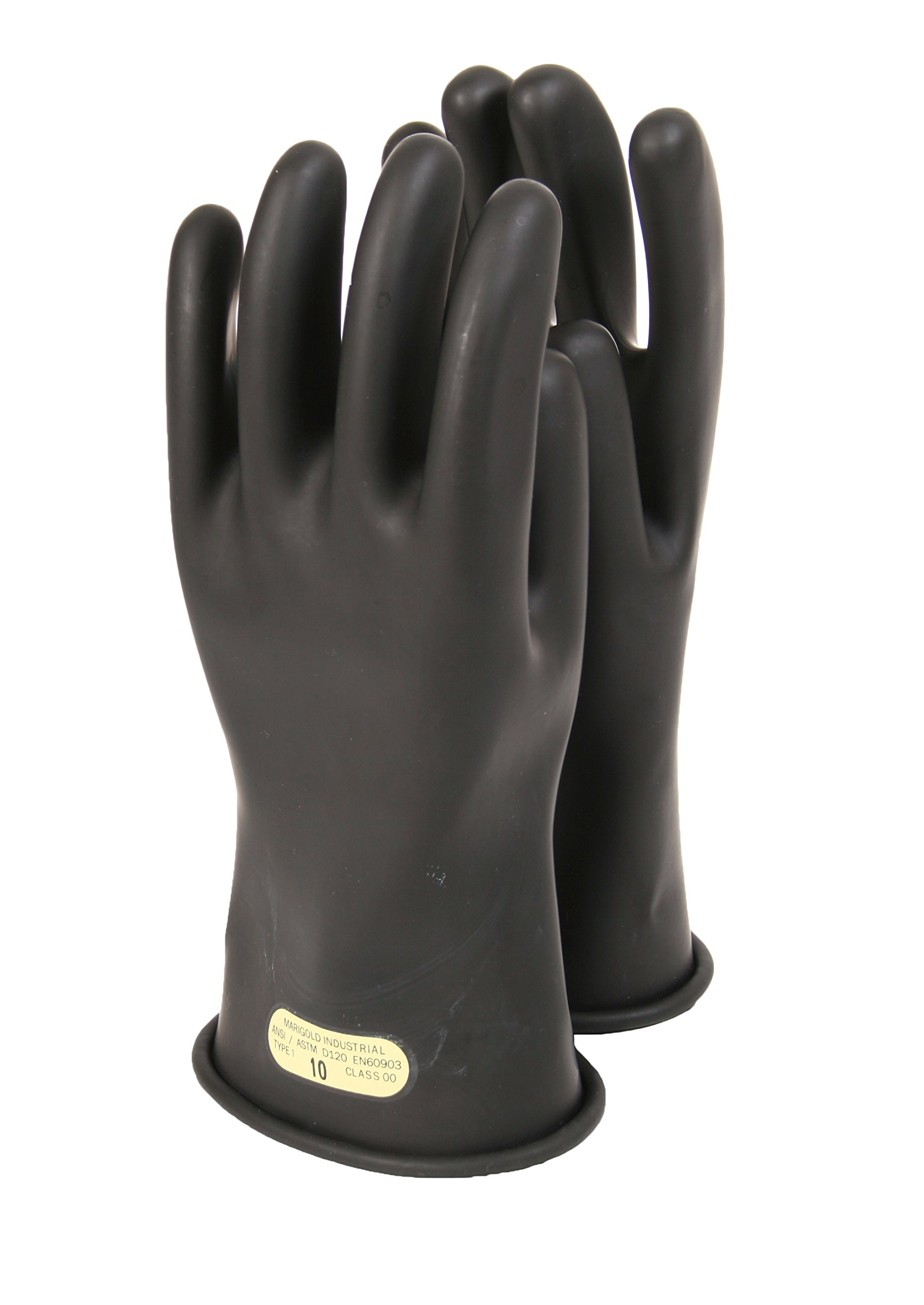 National Safety Apparel DWH11010 Class 0 Rubber Voltage Gloves, 11'', Size 10, Black
