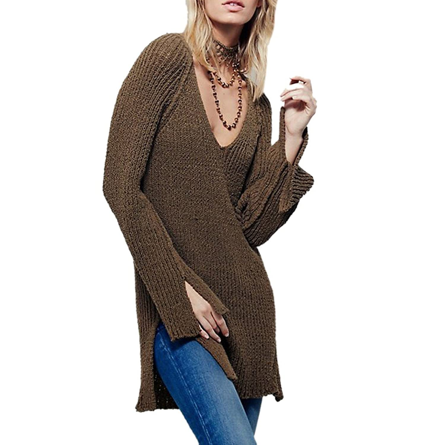 Womens V-Neck Long Sleeve Knitwear Split Backless Sweater Shirt Blouse Tops