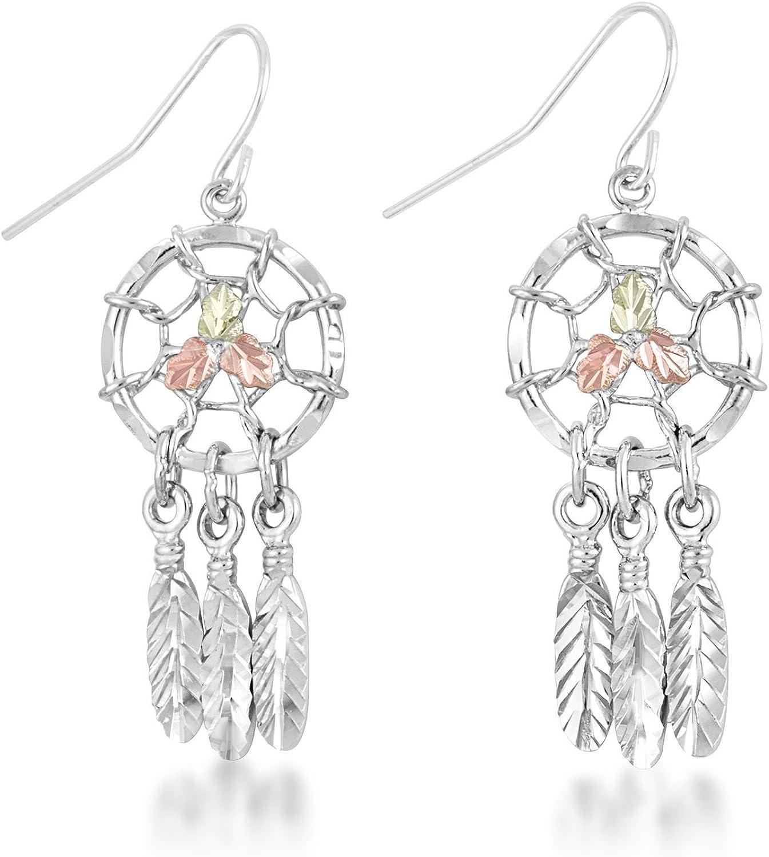 Silver Black Hills Gold Angle Wings Dangle Earrings