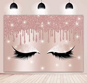 BINQOO 7x5ft Makeup Backdrop Rose Gold Makeup Artist Backdrop for Photography Eyelashes Rose Drips Pink Glitter Background Sweet Girls Spa Fashion Party Banner Decor