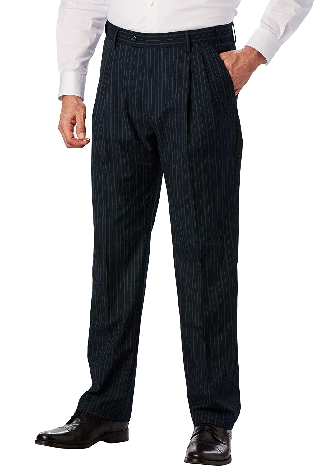 1920s Men's Pants, Trousers, Plus Fours, Knickers  Big & Tall Kingsize Signature Collection Easy Movement Pleat-Front Expandable Dress Pants Kingsize Signature Collection Mens $119.99 AT vintagedancer.com