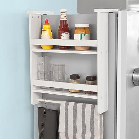 Haotian FRG149-W,Refrigerator Side Storage Rack for Kitchen Storage Wrap  Rack Organizer,2 Tiers Kitchen Shelf Spice Rack Kitchen Cabinet, White