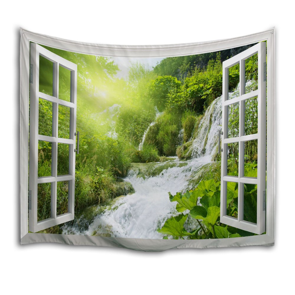 QiYI Home Wall Hanging Nature Art Polyester Fabric Tapestry For Dorm Room,Bedroom,Living Room Decorations 153cmx102cm-Beautiful Scenery Outside The Window 1 HY