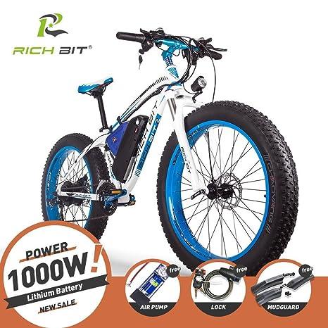 Rich Bit Bici Elettriche Da Uomo Cruiser Fat Bicicletta Tp012 1000 W 48 V 17ah Fat Tire 66 X 102 Cm 7 Marce Shimano Dearilleur Power Ciclismo