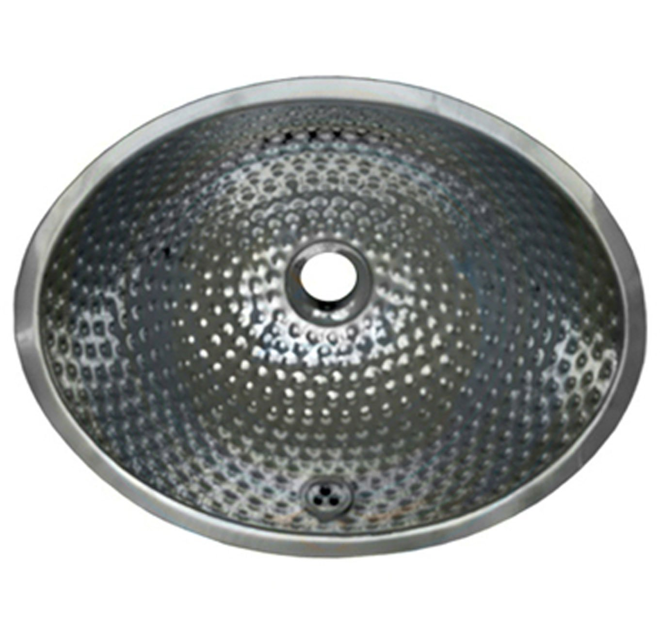 Whitehaus WH608ABM-POSS Oval Ball Pein 16-Inch Hammered Textured Undermount Lavatory Basin with Overflow by Whitehaus Collection
