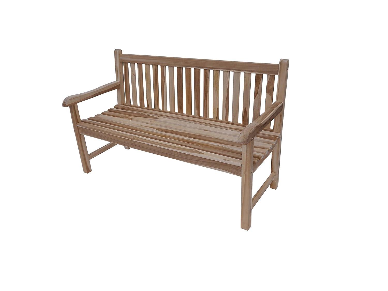 SAM® Garten-Bank Java, Breite 120 cm, Sitzbank aus Teak-Holz, 2-Sitzer Holzbank für Garten Balkon Terrasse