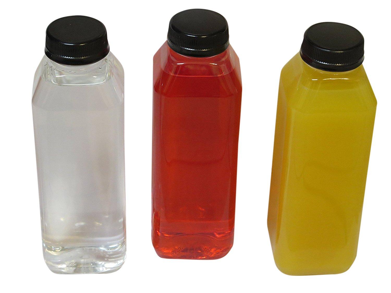 Empty Clear Plastic Juice Bottles Milk Bottles Food Grade BPA FREE with Black Tamper Evident caps 16 oz. plus 10 '' straws - white labels - 8 sets - 8 juice bottles with lids -8 straws -8 white labels.