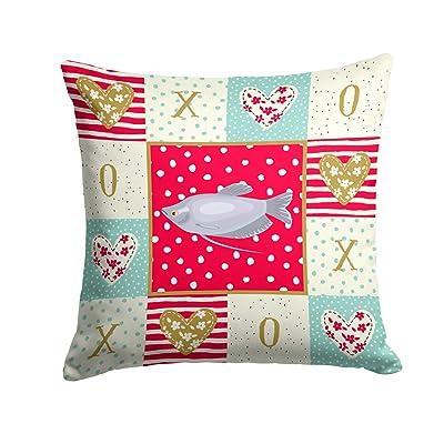 Caroline's Treasures CK5489PW1414 Moonlight Gourami Love Fabric Decorative Pillow, 14Hx14W, Multicolor : Garden & Outdoor