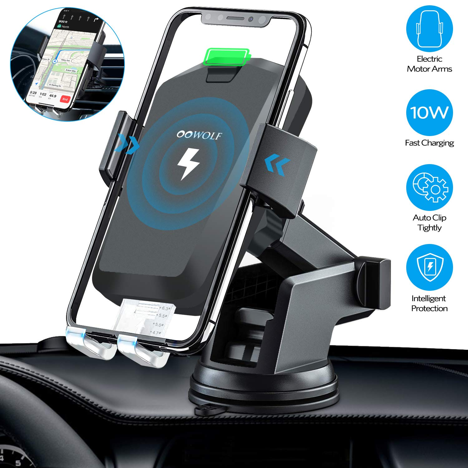 Wireless Car Charger Mount, OOWOLF 10W 7.5W Automatic Clamping Qi Fast Charging Car Mount Windshield Dashboard Air Vent Phone Holder Compatible with iPhone Xs Max XR X 8, Samsung Galaxy S10 S9 S8 Note by OOWOLF