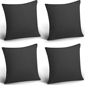 4 Pack Decorative Outdoor Waterproof Throw Pillow Covers, Square Patio Balcony Garden Waterproof Cushion Case, PU Coating Pillow Shell for Couch, Bed, Patio, Sofa, Tent ,18 x 18 Inch (Black)