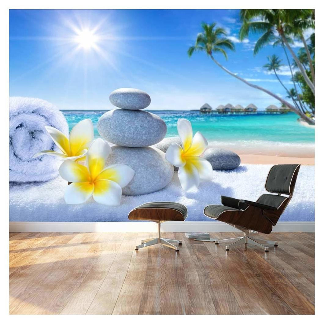 Wall26 - Large Wall Mural - Spa Treatment on Tropical Beach | Self-adhesive Vinyl Wallpaper / Removable Modern Decorating Wall Art - 100'' x 144''