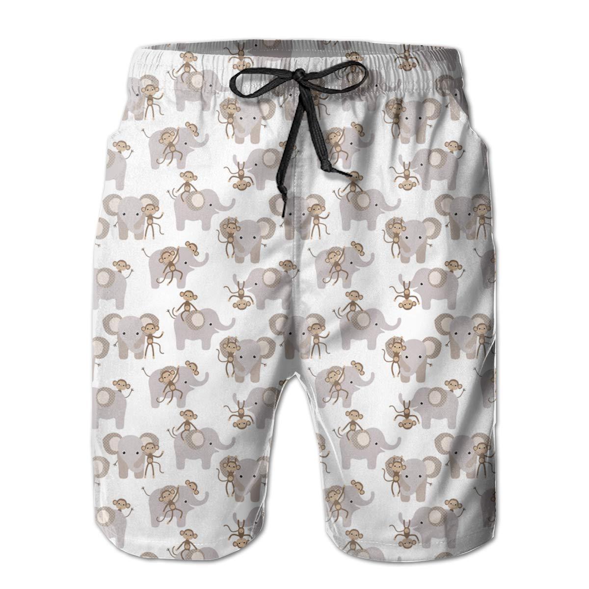 VIRTUALSHELF Mens Swim Trunks Monkey Elephant Pink Quick Dry Drawstring Surfing Beach Board Shorts with Pockets