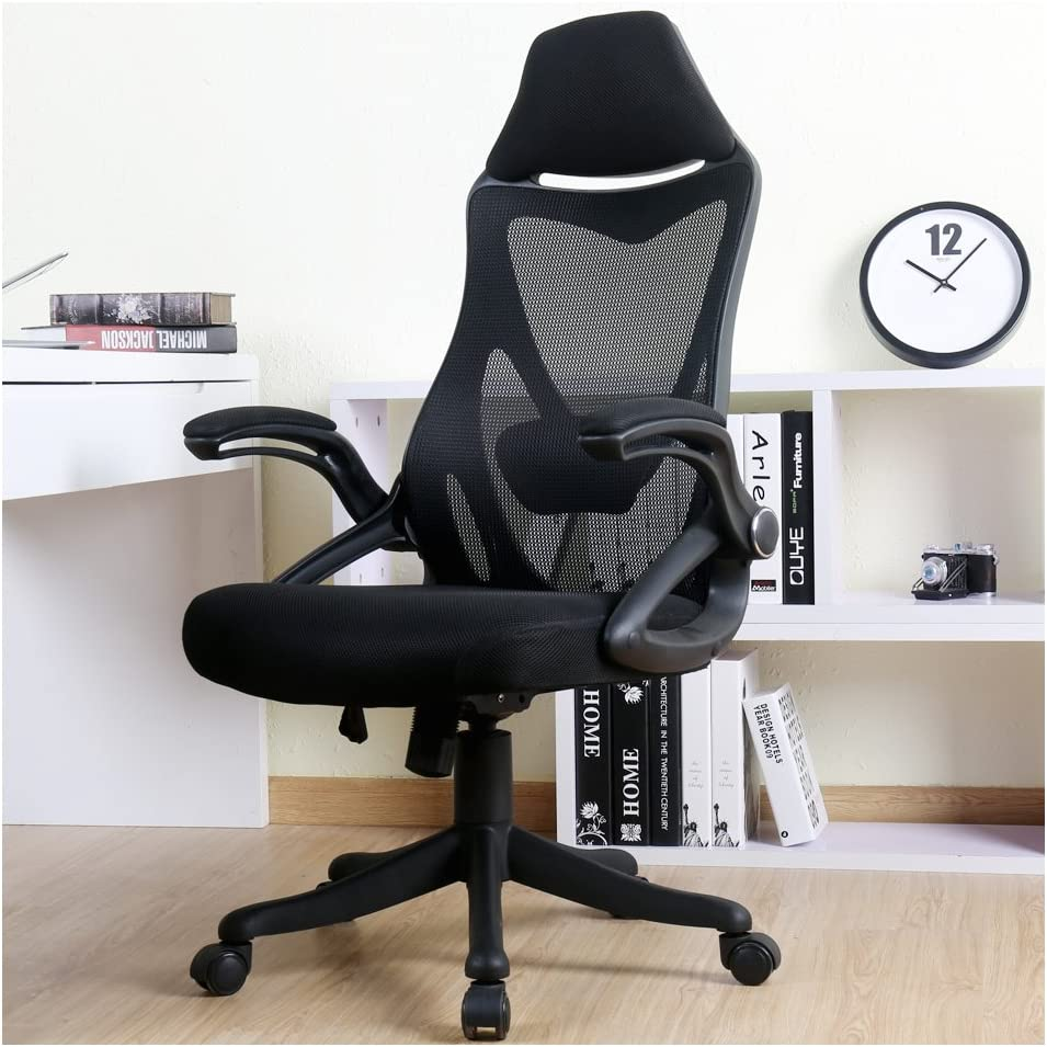 BERLMAN Ergonomic High Back with Adjustable Armrest Lumbar Support Headrest Swivel Task Desk