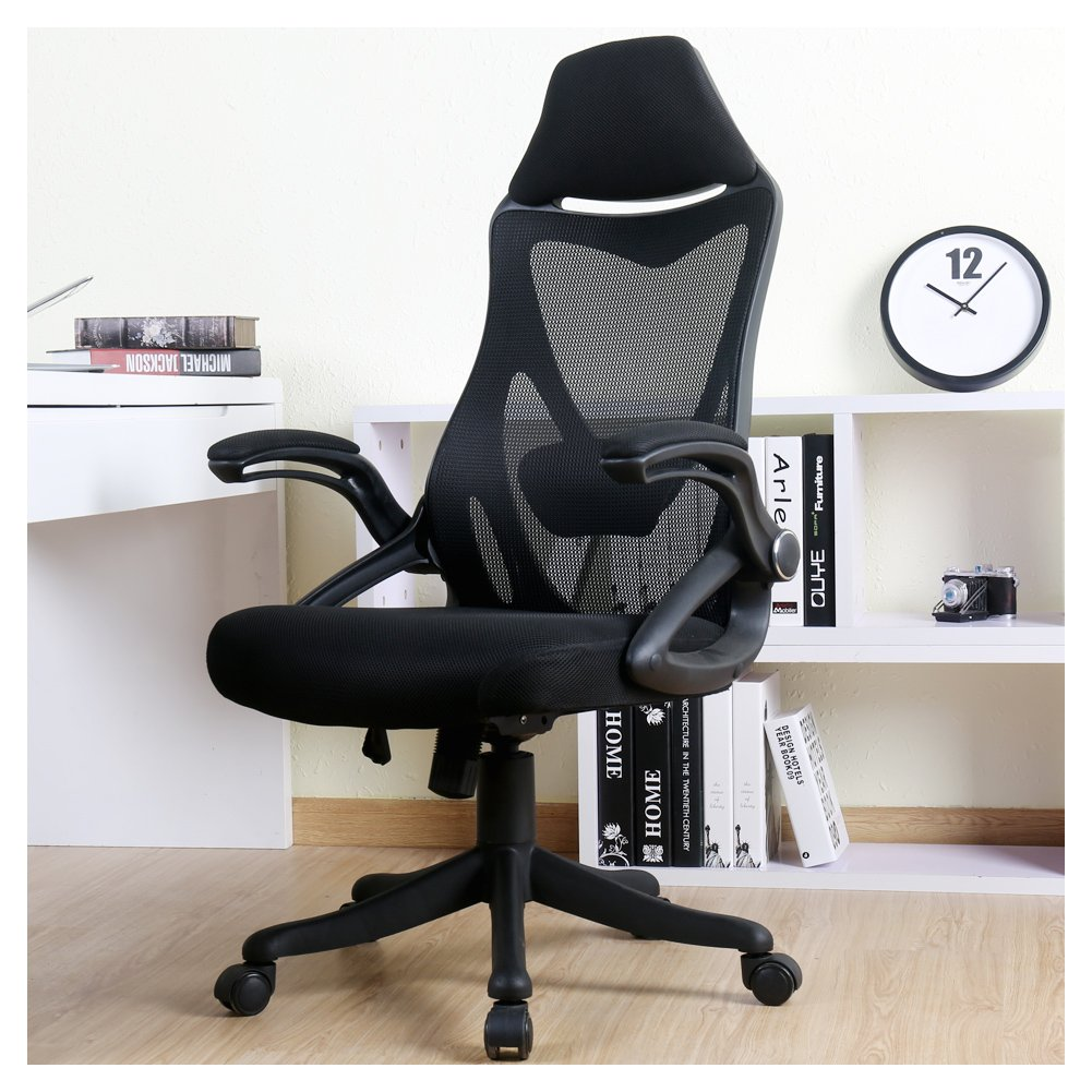 BERLMAN Ergonomic High Back Mesh Office Chair with Adjustable Armrest Lumbar Support Headrest Swivel Task Desk Chair Computer Chair Guest Chairs Reception Chairs (Black) by Zenith