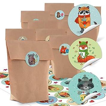 24 pequeñas bolsas de papel natural marrón papel kraft 14 x 22 x 5,6 cm + 1 hasta 24 Números Pegatinas Advent Invierno de animales multicolor ...