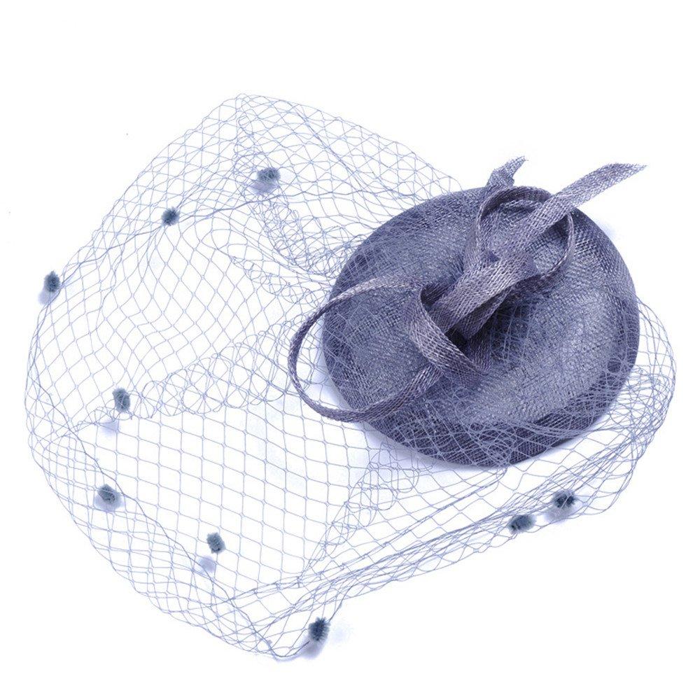 Colore : Beige WYDM Donna Elegante Cappello da Sposa Piuma Copricapo Fiore Clip di Capelli Accessori Cocktail Royal Ascot