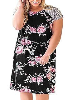 a6558a9a0f4b0 Nemidor Women's Floral Print Casual Sleeved A-line Loose Plus Size T-Shirt  Dress