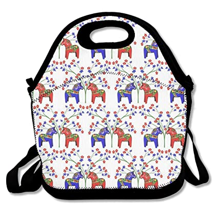 52149996171b Amazon.com - Floral Swedish Dala Horses Lunch Bag Insulated Tote ...