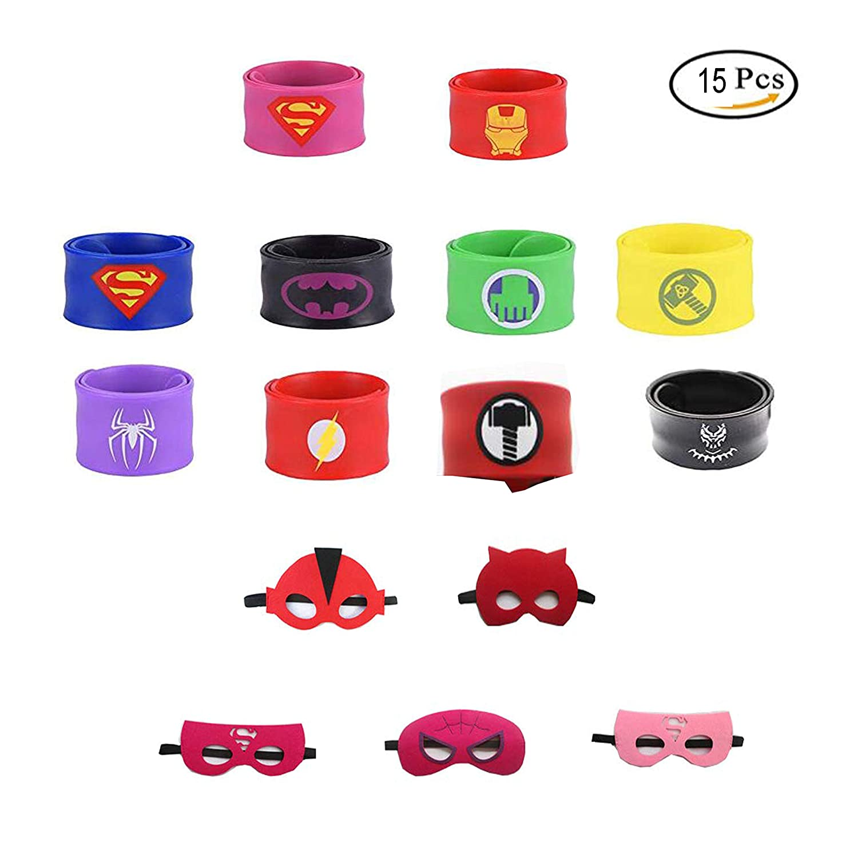 10pcs Slap Bracelets avec 5pcs Masques de Super-H/éros Dress Up Masque de Super-h/éros Cosplay pour Enfants Cadeaux danniversaire et F/ête danniversaire SmileStar Bracelets pour Enfants