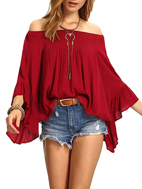 561c06da3c178 SheIn Women s Off The Shoulder Bell Ruffle Sleeve Top Blouse - Red One Size  at Amazon Women s Clothing store