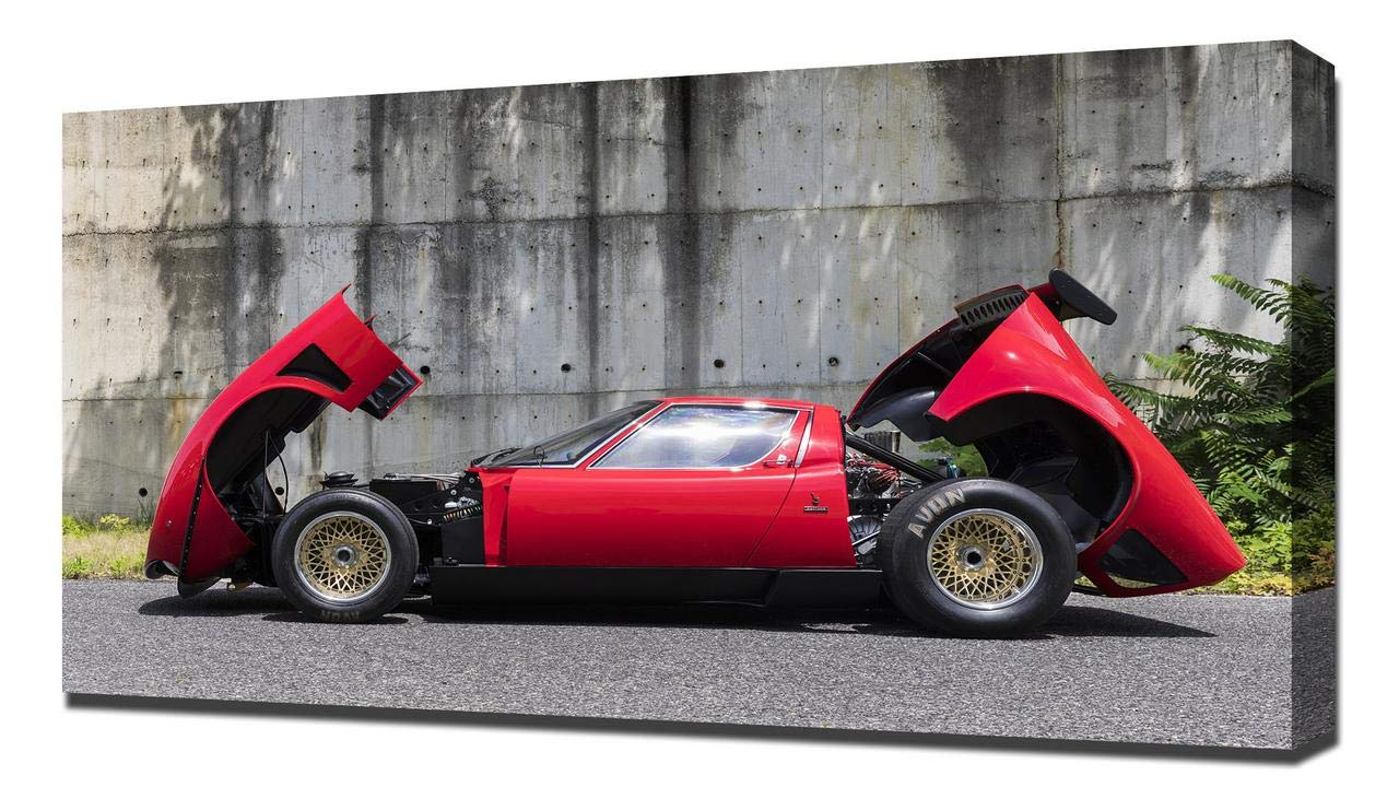 Amazon Com Lilarama Usa 1968 Lamborghini Miura Jota Svr V8 Canvas