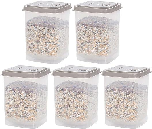 T/è CT-Tribe 5 pezzi Contenitore quadrato Barattolo Conservazione alimenti Contenitori di Blocco in Plastica Ideale per Zucchero Pasta con Airtight Coperchi Riso Caff/è