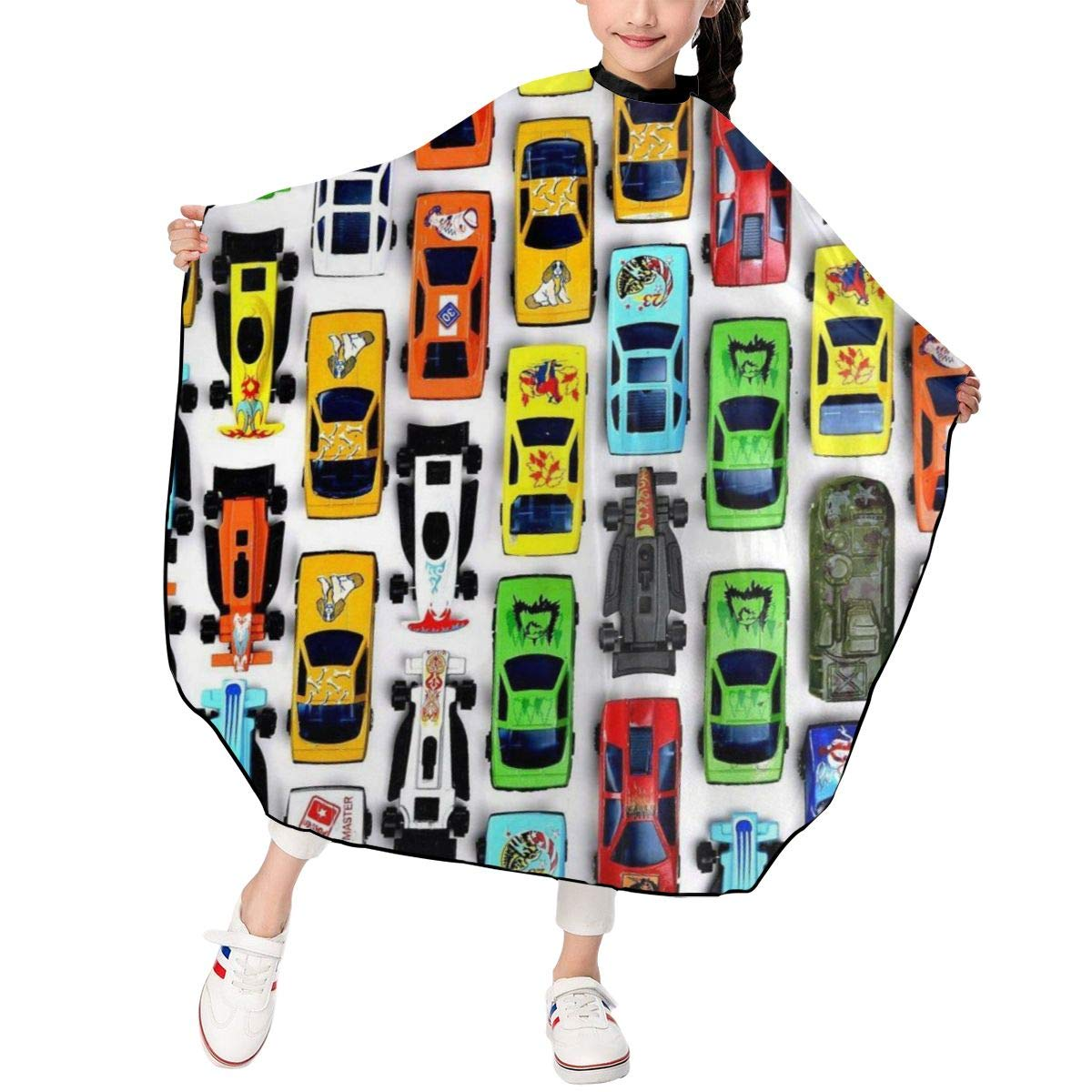 Boy's Toy Cartoon Car Hair Cutting Barber Cape for Kids Home Hair Cutting, Salon, and Styling