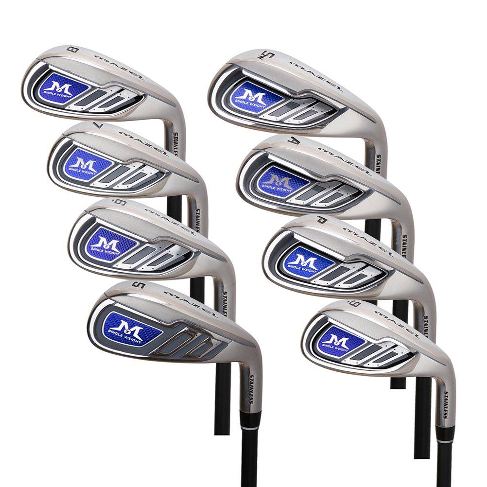 MAZEL ゴルフ クラブ セット アイアン カーボンシャフト 右用 シングル レングス 8本セット メンズ バッグなしクラブのみ B077LYFY2V カーボン Regular(R)